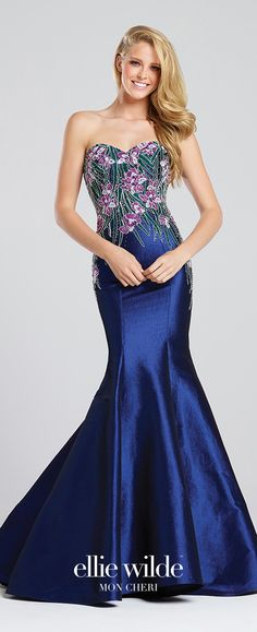 Prom Dresses 2017 - Ellie Wilde for Mon Cheri - sapphire blue floral mermaid prom dress - Style No. EW117077