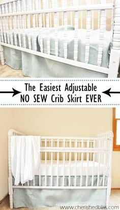 The Easiest DIY Crib Skirt Tutorial Ever via cherishedbliss.com. Love the burlap!