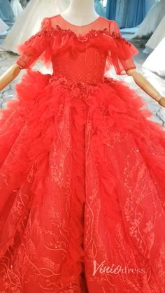 Red Lace Ball Gown Prom Dresses for Children KD1017