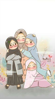 Emoji Wallpaper, Kawaii Wallpaper, Girl Cartoon, Cartoon Art, Friend Cartoon, Doodle Cartoon, Hijab Drawing, Islamic Cartoon, Bff Drawings
