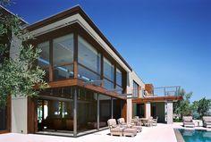 Balcony Ideas, Steel Posts, Sliding Wall, Patio Furniture,  & Corner Windows - Modern Exterior By Modern House Architects