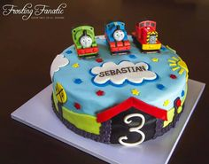 Fondant Thomas the Train themed birthday cake by Frosting Fanatic - www.frostingfanatic.com