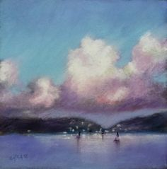 """Cynthia Haase Pastel, 6 x 6"""" on sanded paper, Harbor Lights, Unframed, SOLD"""