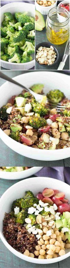 almond, avocado, broccoli, chickpea, gluten free, grapes, healthy, honey, mustard, pepper, quinoa, recipes, salad, valentine