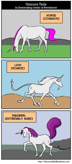 Funny unicorn facts: Types of unicorn tail (in descending order of prevalence)