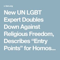 "New UN LGBT Expert Doubles Down Against Religious Freedom, Describes ""Entry Points"" for Homosexual and Transgender Rights - C-Fam"