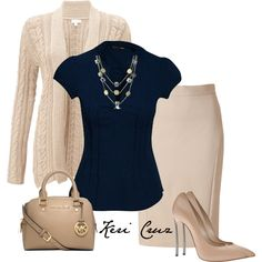 Blue Top with Beige Cardigan and Pencil Skirt