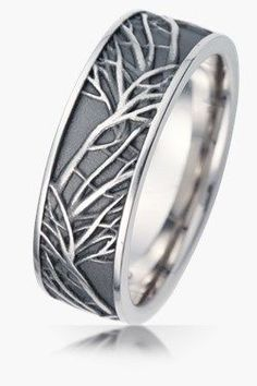 Titanium Wedding Rings nature wedding bands - Unique wedding bands, Exquisite and unusual wedding ring sets for men and women. Custom diamond rings, sapphire, woodgrain rings and more! Ranked A by BBB Unusual Wedding Rings, Big Wedding Rings, Rustic Wedding Rings, Titanium Wedding Rings, White Gold Wedding Bands, Unique Rings, Unique Mens Wedding Bands, Crazy Wedding, Wedding Things