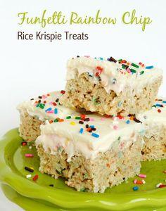 Funfetti Cake Batter Rice Krispie Treats with Rainbow Chip Icing