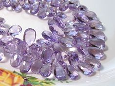 4 Strand  Stunning AAA AMETHYST Faceted Pear Briolettes Pink Amethyst, Pear, Trending Outfits, Unique Jewelry, Handmade Gifts, Vintage, Etsy, Kid Craft Gifts, Craft Gifts