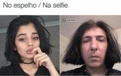No espelho X Na selfie