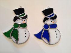 Hecho a mano vidrieras Suncatcher de muñeco de nieve por QTSG