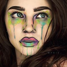 Makeup Face Halloween Make Up 70 Ideas For 2019 Pop Art Makeup, Sfx Makeup, Crazy Makeup, Costume Makeup, Pop Art Costume, Face Makeup Art, Skull Makeup, Eyeshadow Makeup, Costume Ideas