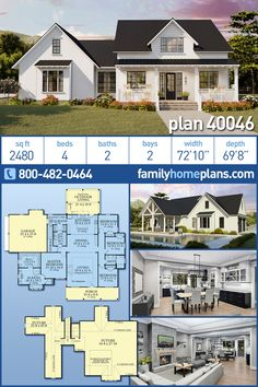 New Modern Farmhouse Home Plan with 4 Bedrooms and Outdoor Kitchen Four bedroom country farmhouse with a modern floor plan. A new house plan for 2019 that is sure to Family House Plans, Bedroom House Plans, New House Plans, Dream House Plans, House Floor Plans, House Rooms, Farmhouse Layout, Modern Farmhouse Plans, Country Farmhouse