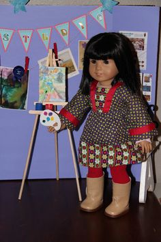 American Girl Doll Play: Doll Craft - Making Saige's Easel