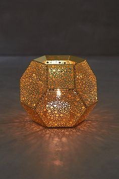 A lacy votive holder to cast bubbly shadows! Use scented votives for fun. Tom Dixon Bubble-Etched Candleholder #anthroregistry