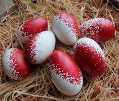 Dekorácie - Červeno-bílé husí kraslice - 2298438