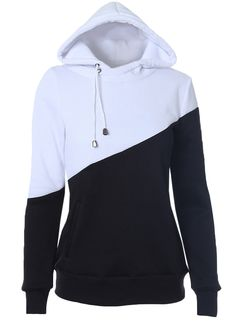 Women's Casual Long Sleeve Color Block Pullover Drawstring Hoodie