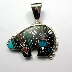 Big Native American Navajo Inlaid Cosmic Bear Pendant, Ray Jack