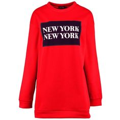 Boohoo Natalia New York Sweat Dress (€14) ❤ liked on Polyvore featuring dresses, red party dresses, bodycon party dresses, bodycon dresses, party maxi dresses and red skater dresses