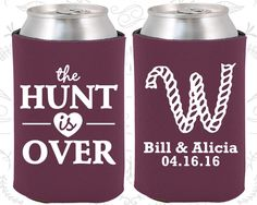 The Hunt is Over Wedding Gift, Personalized Gift, Monogram Wedding Gift, Monogrammed Gifts, Wedding Koozies (06)