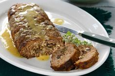 Amateur Cook Professional Eater - Greek recipes cooked again and again: Meatloaf with mushrooms stuffing served with mustard sauce Turkish Recipes, Greek Recipes, Paleo Recipes, Cooking Recipes, Greek Cooking, Meat Loaf, Mediterranean Recipes, Convenience Food, Food Videos