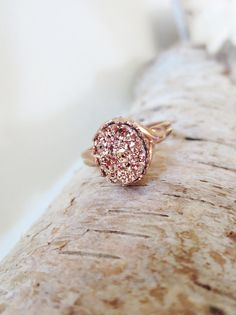 Rose gold druzy ring. Titanium druzy ring. by LittleBearsMom