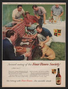 1948 bulldog photo at cookout Four Roses Whiskey vintage print ad Vintage Ads, Vintage Prints, Vintage Looks, How To Grill Steak, Print Ads, Metal Signs, Whiskey, Bulldogs, Roses