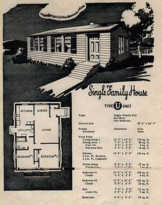 """The U-House is a 1 story without a basement. Interior floors are softwood fir with linoleum in the kitchen and bathroom. Also known as a """"precut"""" because all the lumber arrived """"precut"""" on the building site. The U and V houses are the only letter houses to have asbestos shingled walls. There were 110 U-Houses built in 1947. This Pyramidal (with hipped roof) style home has 2 bedrooms, 1 bath and 864 sq ft. Richland, WA  Source: http://ebchs.org/architecture/Richland/h_letter_house.htm"""