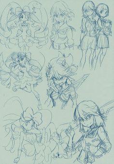 "artbooksnat: ""Kill la Kill sketches with Nui Harime, Ryuko Matoi, and Mako Mankanshoku, illustrated by animation director Shota Iwasaki (岩崎将大) for Atmosphere's Sketchbook Comiket 89 release FUYU. """