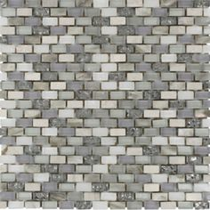 """Shop 11 1/2""""x12"""" Paragon Moon Jewel Mini Brick Pattern Pearl Shell Glass, Glass and Woodvein Beige Polished Tile in White, Lavender, Metallic Pewter, Silver + Beige"""