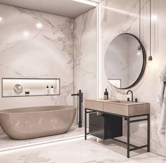 contemporary bathroom Interior Design Using Marble And Wood Combinations