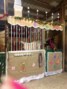 My horse's Christmas stall for 2013's stall decorating contest at our barn Christmas party. Apache's gingerbread stall! We got second place this year.