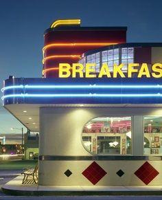Vintage Diner, Retro Diner, Vintage Signs, Fifties Diner, Vintage Style, Thelma Et Louise, Diner Aesthetic, Art Deco, Streamline Moderne
