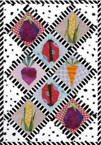 """Sew your own foundation-pieced vegetables with """"Ladybug Harvest,"""" a fun little free quilt pattern celebrating summer's bounty, available online from Quilters Newsletter."""