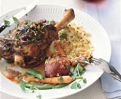 Braised Lamb Shanks with Spring Vegetables and Spring Gremolata Recipe | Epicurious.com