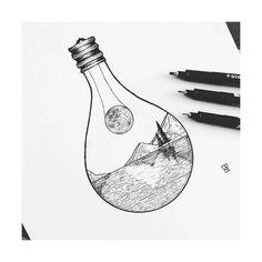 drawings landscape instagram easy drawing simple cool lightbulb draw sketch pen lamp illustrations fantasy tattoos