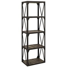 - Industrial modern shelving unit - Four pine wood shelves and surface (stained but not sealed) - Bolted metal construction - Paneled solid pine wood - Assembly required Overall Product Dimensions: 23