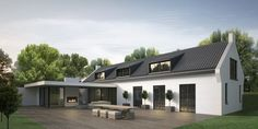 HOEVEPAAL love the contemporary look and those dormer windows. A modern bungalow for a change. Bungalow Extensions, House Extensions, Style At Home, Bungalow Conversion, Dormer Bungalow, Bungalow Renovation, Exterior Design, Modern Farmhouse, White Farmhouse