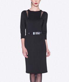 Look what I found on #zulily! Black Belted Sheer Cutout Dress - Women #zulilyfinds