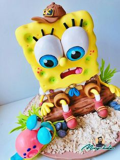 SpongeBob cake by Moy Hernández Spongebob Birthday Party, Monster Birthday Parties, Fondant Cakes, Cupcake Cakes, 3d Cakes, Fondant Bow, Fondant Tutorial, Fondant Flowers, Fondant Figures