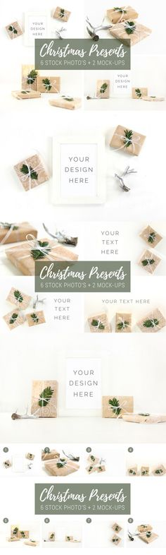 Stock photo mockup Christmas present by Skyla Design on @creativemarket