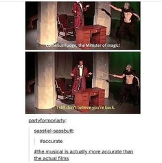 And it had a Zefron poster as a Horcrux, Voldemort tap dancing, and Umbridge dating Dumbledore because Dumbledore thought Umbridge was a man (Example of Dumbledore being gay) Markiplier, Pewdiepie, Harry Potter Jokes, Harry Potter Fandom, Smosh, Avpm, Superwholock, Amazingphil, Hogwarts