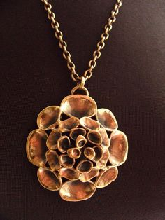 Hannu Ikonen for Valo-Koru (FI), vintage modernist bronze 'Reindeer Moss' necklace, 1970s. #Finland | finlandjewelry.com