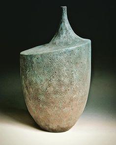 stoneware form with underglaze, encaustic, acrylic and soapstone Lee Daniels, Soapstone, Stoneware, Vase, Photo And Video, Instagram, Vases, Ceramica, Jars