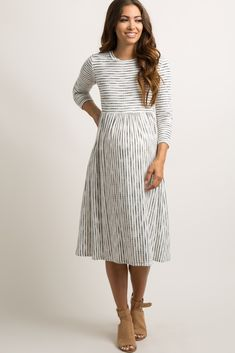 Ivory Ribbed Striped Pleated Midi Dress
