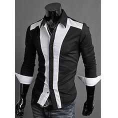 Camisa Casual ( Mistura de Algodão ) MEN - Bodycon/Casual Colarinho de Camisa - Manga Comprida – BRL R$ 47,85