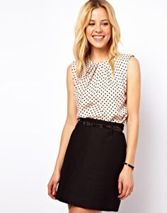 Sleeveless Top With Pleat Neck In Spot Print black and white polka dots #smart #office #casual | ASOS £28
