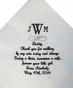 Wedding Handkerchief | Consider these unique finds for parents a small token of your appreciation for the wedding day and all those years of love and support.