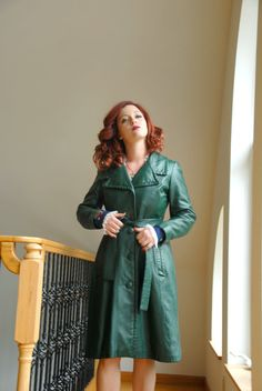 Women's Dark Green Leather Trenchcoat, Black Horizontal Striped ...